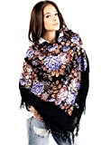 Écharpe bleu russe mILANA, 100 %  de laine et cachemire et de fleurs de foulard à franges 100 %  original, de très bonne qualité