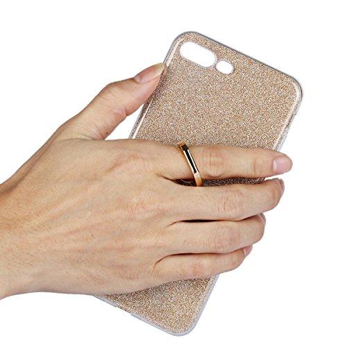 iPhone 7 Plus Etui Coque, SHANGRUN 2 in 1 Scintillement Bling TPU Gel Silicone Etui Coque 360 Degres Rotating Métal Bague Ring Stand Holder Cover Coque avec Béquille Housse Étui pour iPhone 7 Plus 5.5 Bleu