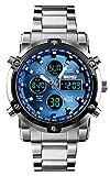 Reloj analógico Digital para Hombres - Reloj Deportivo Militar para Hombre con Alarma/Cuenta Regresiva/Cronómetro, Impermeable Relojes de Pulsera para Hombres de Acero Inoxidable Plateado (S-Azul)