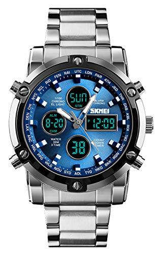 BHGWR Herren Analog Digital Quarz Uhr mit Silber Edelstahl Armband, Herren Militär Sportuhr mit Wecker/Countdown/Stoppuhr, großes Gesicht wasserdicht Digitaluhr Armbanduhr für Männer (S-blau)