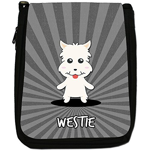 Scozzese Cartoon cani medium nero borsa in tela, taglia M Westie, Westy,Highland Terrier