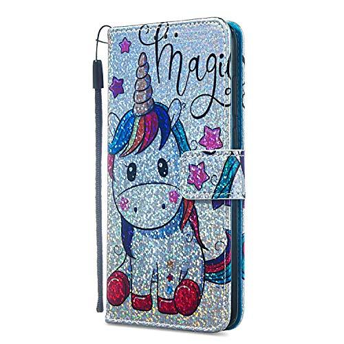 lus/ 6S Plus Hülle Leder, Wallet Tasche Flip Case Glitzer Bling Brieftasche Schutzhülle Handyhülle Trageschlaufe Cover für iPhone 6 Plus/ 6S Plus, Einhorn & Sterne ()