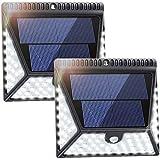Luposwiten LED 82 Sensorlampe für Außen mit Solarpanel Bewegungserkennung Sicherheitsbeleuchtung für Außen, Weitwinkel-Beleuchtung Wandleuchten für Garten, Hof, Zaun, Garage, Terasse, Pfad, Einfahrt Wireless Sensorlampen mit Solarpanel[IP65 Wasserdicht]-2 Stück