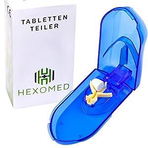 [Tablettenteiler] Verstellbarer Pillenschneider • für große und kleine Tabletten | durchsichtig | mit Aufbewahrung