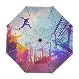 ALAZA Abstrakt Parkour Gemälde Regenschirm Reise Auto Öffnen Schließen UV-Schutz-windundurchlässiges Leichtes Regenschirm