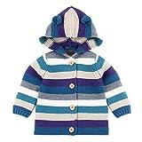 MEIbax Kleinkind Baby Gestreifte Strickjacke mit Kapuze gestrickte Oberseiten Jungen Mädchen wärmen Mantel Kapuzenjacken Cardigan