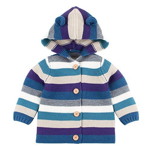 MEIbax Kleinkind Baby gestreifte Strickjacke mit Kapuze gestrickte Oberseiten Jungen Mädchen wärmen Mantel Kapuzenjacken Cardigan -