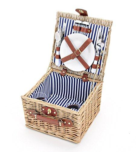 Picknickkorb Für 2 Personen Aus Weide - Inklusive Umfangreichem Zubehör Set - Picknick Korb Mit Deckel & Geschirr, Blau-Weiß - 14 tlg. Set