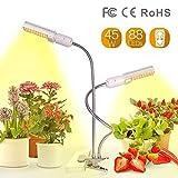 Relassy 45W LED Vollspektrum Pflanzenlampe 88 LEDs Wachstumslampe mit Dual E27 Ersatzleuchtmittel...