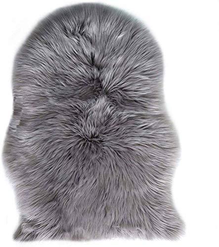 Avnten Faux Lammfell Schaffell Teppich 60X90 cm, Kunstfell Dekofell Lammfellimitat Teppich Longhair Fell Optik Nachahmung Wolle Bettvorleger Sofa Matte (Grau)