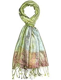 4ed67eb0220 Lorenzo Cana Pashmina pour l`homme - écharpe de 100% soie avec les mesures  de 70 x 190 cm - fait à la main – souple élégant en vert tilleul bleu…
