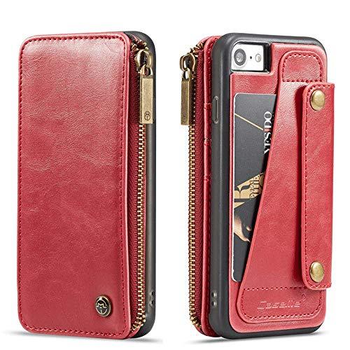 Preisvergleich Produktbild elecfan iPhone 8 Ledertasche, iPhone 7 Ledertasche,  Brieftasche Etui Case Wallet Zipper Card Holder mit Kartenfächer und Bargeld Retro Vintage Stand Smart Cover Kompatibel mit iPhone 7 / 8, Rot