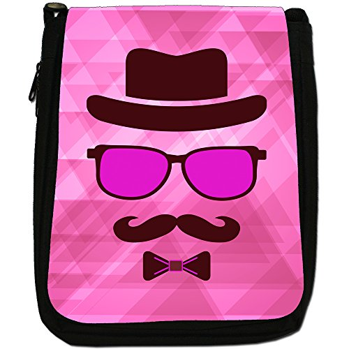 Hipster Face, con baffi Hipster Guy-Borsa a tracolla in tela, colore: nero, taglia: M Pink Invisible Hipster Guy