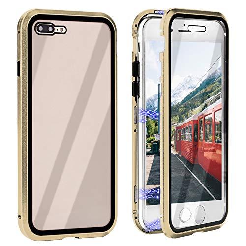 ZXK CO iPhone 7 Plus Hülle Magnet, Einteiliges 360 Grad Vollbildabdeckung Gehärtetes Glas Handyhülle mit Panzerglas Rückseite Vorne & Hinten Case Cover für iPhone 7 Plus 8 Plus 5.5 Zoll-Gold