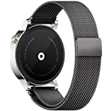 18mm Reloj Bandas Pinhen Reemplazo liberaci��ᰩda Correa Banda de Milanese bucle magn鴩co de acero inoxidable para Huawei Gear S2 MOTO 360 Pebble Time LG G Watch Smart Watch (18MM Black)
