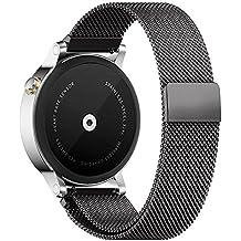 18mm 20mm 22mm Reloj Bandas Pinhen Reemplazo liberación rápida Correa Banda de Milanese bucle magnético de acero inoxidable para Gear S2 MOTO 360 Pebble Time LG G Watch Smart Watch (20MM Black)