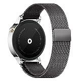 Pinhen 22mm Correa - Milanese Magnético de Acero Inoxidable Reemplazo Banda para Gear S3, Galaxy Watch 46mm, Huawei Watch GT, Huawei Watch 2 Classic, Moto 360 46mm, Pebble Time (22MM Black)