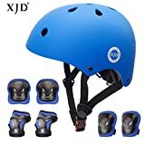 XJD 7Pcs Child Skateboard Protective Gear Set, Kids Cycling Helmet Knee and Elbow