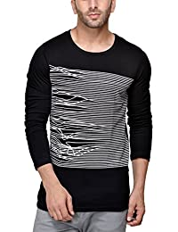Unisopent Mens Round Neck Full Printed T-shirt(Black)