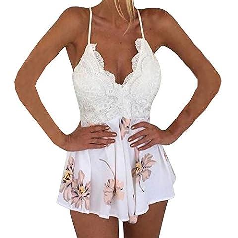 Damen Bekleidung Hosenträger Neckholder Bedruckt Jumpsuits Beachwear Frühling Herbst Sommer (M, Weiß)
