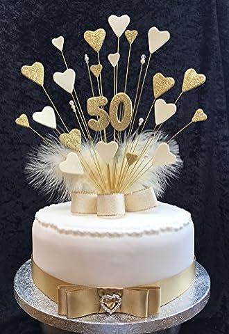 50e anniversaire de mariage/avec cœurs Doré et crème de gâteau d'anniversaire avec plumes marabout Plus 1x M 25mm Ruban en satin avec nœud Doré et cœur Boucle en strass
