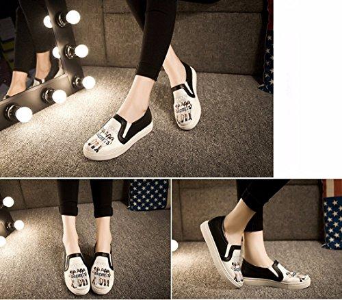 QIYUN.Z 3D De La Mode Des Femmes Imprimes Roche Vachette Plat Patin Casual Mocassin Chaussures Simples Devious Maids Blanc