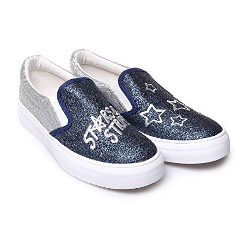 La Modeuse Baskets de Type Slip-On à Paillettes avec Inscription à L'Avant Bleu