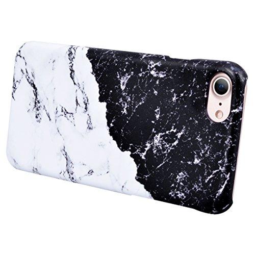 Coque iPhone 8 Plus,GrandEver Marbre Marble Motif Design Housse Rigide Plastique Arrière Dur Hard Dure Dessein Spécial de Protection Anti Choc Fashion Cover Case pour iPhone 8 Plus --- Mélanger Couleu Noir + Blanche