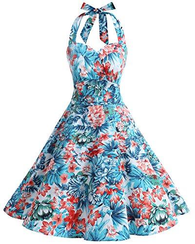 bbonlinedress Vestito - Sera - Donna Blue Red Flower XXXL