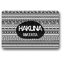"""Hakuna Matata azteca patrón blanco y negro–alfombra de interior/al aire libre Felpudo felpudos, 23.6""""(L) X 15,7(W)"""
