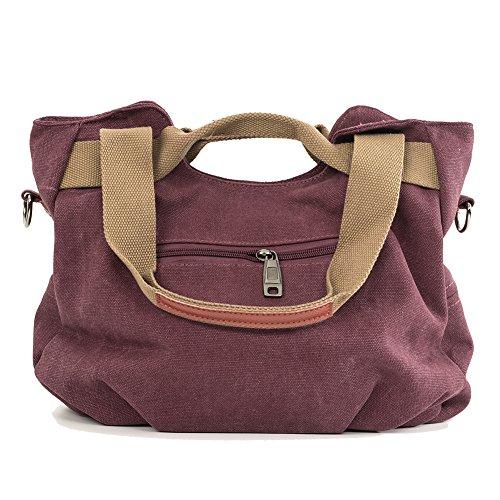 CloSoul Direct Damen Canvas Shopper Handtasche Umhängetasche Mit Reißverschluss Schwarz Violett