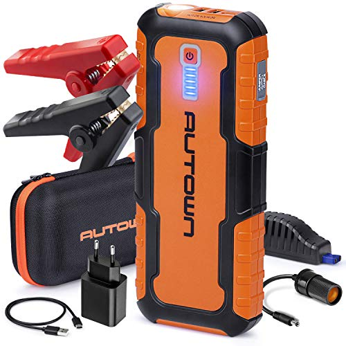AUTOWN Starthilfe Powerbank 21000mAh 1000A Spitzenstrom, Auto Starthilfe mit 12V Ausgang, Starthilfegerät mit LED und Dual USB Ausgänge