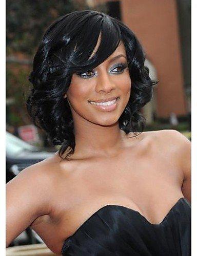 Die schwarzen entsprechend und bequem gelegentliche Elegante Tranche kurzen gewellt Perücke Haar...