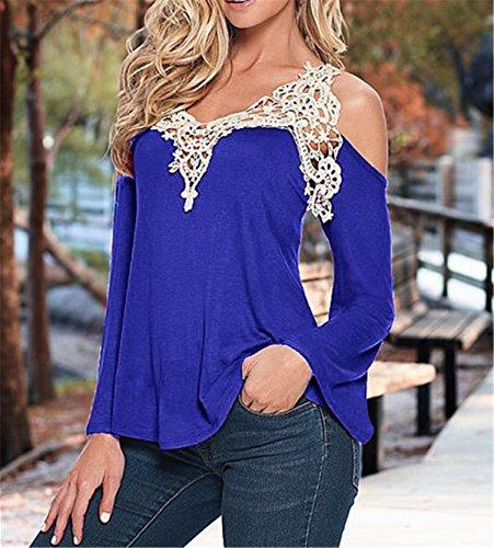 Faith Wings Donna Maglietta Manica Lunga Girocollo Allentato Pizzo Camicetta T-Shirt Casuale Tops Blu