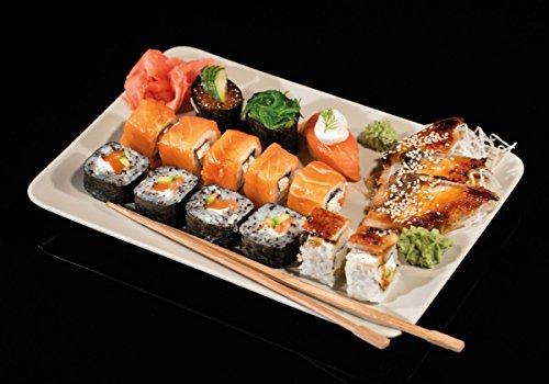 Wallario Wand-Bild 70 x 100 cm | Motiv: Sushi-Menü mit Inside-Out Sushi, Nigiri und Wasabi | Direktdruck auf 5mm starke Hartschaumplatte | leichtes Material | günstig