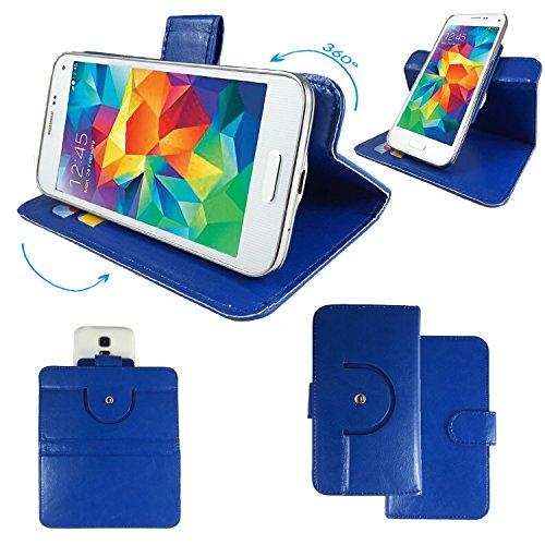 ZTE Grand Memo LTE Smartphone Tasche / Schutzhülle mit 360° Dreh und Standfunktion - 360 Blau Nano XL