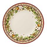 Villeroy & Boch Winter Bakery Delight Frühstücksteller, 21,5 cm, Premium Porzellan, Weiß/Rot