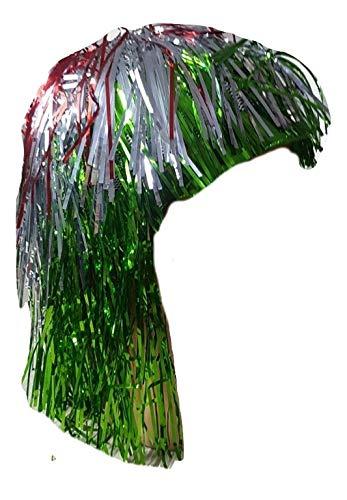Piccoli monelli parrucca tricolore bandiera italiana metallizzata donna per carnevale parrucca fili verde bianca rossa adatta anche per serate disco
