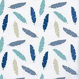 Baumwollstoff | Mehrfarbige Federn - blau, grau, beige & grün (Grundfarbe: weiß) - Kollektion Winterfest | 100% Baumwolle | Stoffbreite: 140 cm (pro Laufmeter)*