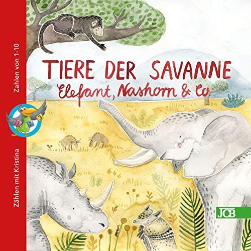 Buchseite und Rezensionen zu 'Tiere der Savanne - Elefant, Nashorn & Co.: ZÄHLEN MIT KRISTINA' von Babett Jacobs