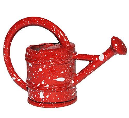Gießkanne aus Metall / Gusseisen - rot - Miniatur - Maßstab 1:12 - für Puppenstube - Puppenhaus - Kanne Gartenkanne - Garten Deko - Klein - Metallgießkanne Gießen - weiße Punkte - Blumenkanne / Kanne - Zubehör - Diorama