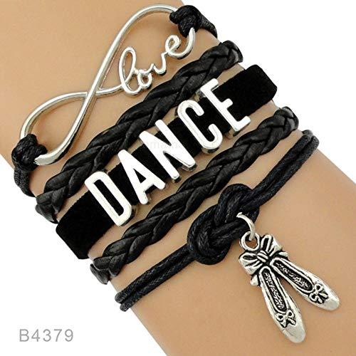 Mann Frau Tanz Tänzerin Ballett Schuhe Herzen Unendlich Liebe Charme Bracelets Antik Silber Handgemachte Rosa Schmuck Frauen Männer Geschenk,04 ()