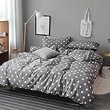100% Baumwolle Bettwäsche Setzt 4 Stück, Punktmuster, Aktiven Druck- Und Färbeprozess, Nicht Leicht Zu Verblassen (Pink, Weiß, Grau),Gray,160 * 210Cm