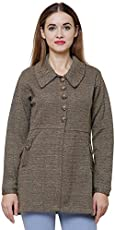 Matelco Brown Woollen Buttoned With Pockets Coat For Women