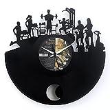 Fitness Uhr für Fitnessstudio Geschenkidee Vinyl Schallplatten Uhr mit Pendel Schwarz Vinyluse...