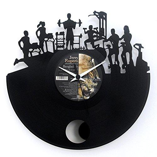 Fitness Uhr für Fitnessstudio Geschenkidee Vinyl Schallplatten Uhr mit Pendel Schwarz Vinyluse original