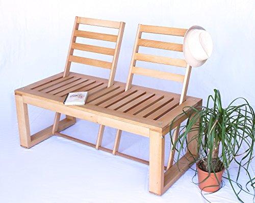 DanDiBo Sitzbank Gartenbank aus Holz umklappare Rückenlehnen Bank natur lackiert