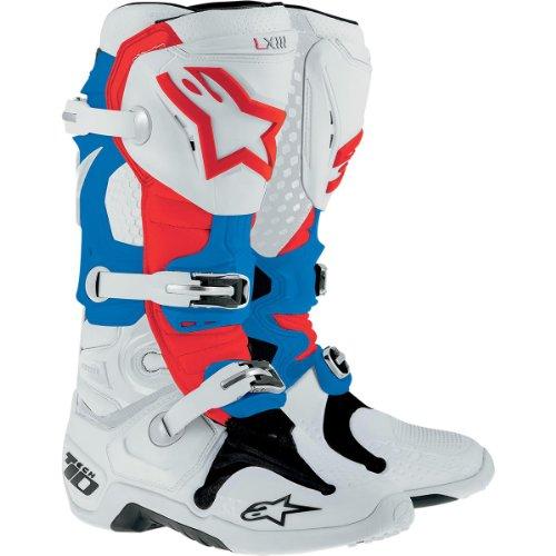 Stivali Mx Alpinestars 2014 Tech Ten Bianco-Rosso-Blu (Eu 42 / Us 8 , Bianco) BIANCO-BLU-ROSSO