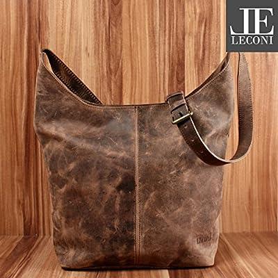 LECONI Large besace pour dames Sac épaule Sac en cuir pratique pour dames Sacoche style vintage Sac pour dames Shopper en cuir 34x34x11cm LE0055