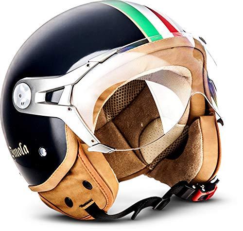 SOXON SP-325 Imola Black · Mofa Bobber Jet-Helm Roller-Helm Helmet Cruiser Chopper Vespa-Helm Retro Pilot Motorrad-Helm Scooter-Helm Biker Vintage · ECE zertifiziert · mit Visier · inkl. Stofftragetasche · Schwarz · XL (61-62cm)